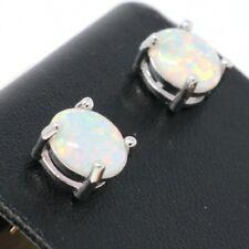 Ethiopian 3Ct White Fire Opal Stud Earrings Women Sterling Silver Jewelry Gift