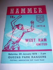 Queens Park Rangers Away Teams O-R Football FA Cup Fixture Programmes