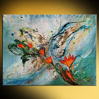 Abstract figurative impreressionist ultramarine orange color Elena Kotliarker