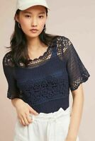 ANTHROPOLOGIE NWT $98 James Coviello Janice Lace Crochet Top Size Medium