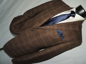 Black by Saks Fifth Avenue men's Brown plaid W/elbow patches slim jacket 40 R