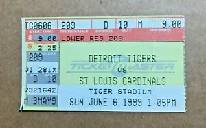 Rich Croushore First Win #1 June 6 1999 6/6/99 Tigers Cardinals Ticket Stub