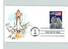 $2.40 PRIORITY MAIL, Hand Painted, Astronauts with FLAG on MOON, 1989 First Day