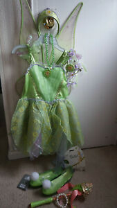 Disney Store Tinkerbell Costume Dress Size 9/10 Shoes 2/3 Accessories WAND WINGS