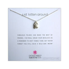 """Dogeared 925 Sterling Silver Kitty Just Kitten Around Necklace 16 + 2"""" Ex. BOXED"""