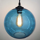 Blue Glass Shade Vintage Industrial Ceiling Pendant Light Lamp Edison Chandelier