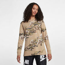 Nike Sportswear Women's The Force Is Female Long Sleeve T-Shirt S M Brown Floral