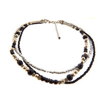 Vintage Faux Pearl Triple Strand Beaded Necklace Choker Dauplais