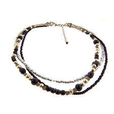 Beaded Necklace Choker Dauplais Vintage Faux Pearl Triple Strand