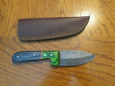 Custom Made Damascus Steel drop point skinner knife and leather sheath