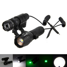 Tactical Adjusted Green Dot Laser Sight Scope 20mm Mount+Zoom 5000Lm XM-T6 Torch
