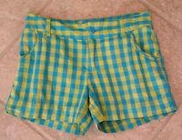 CHEROKEE Girls Size Lg (10-12) Yellow Blue Plaid Shorts with Cuff 100% Cotton.