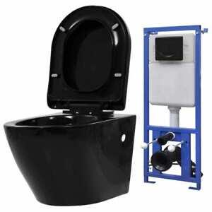 vidaXL Inodoro de Pared con Cisterna Oculta Cerámica Negro Váter Suspendido