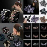 Women Crystal  Rhinestone Flower Bun Maker Claw Hair Clip Ponytail Clamp Hairpin