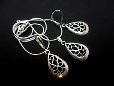 A TIBETAN SILVER FILIGREE TEARDROP NECKLACE &  LEVERBACK HOOK EARRING SET. NEW.
