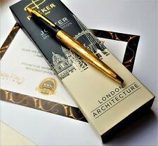 24Ct Gold Plated Parker Architecture Jotter Ballpoint Writing Pen In Gift Box