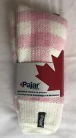 PAJAR Canada Socks Pink & White PLAID Brushed THERMAL sz 9-11 SOFT & WARM