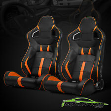 2 x Black PVC Main And Orangge Side Left/Right Racing Seats + Adjustor Slider