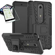 para Nokia 6 5.5 2018 Hybrid Bolsa Exterior 2 PIEZAS NEGRO CARCASA + H9 Glas
