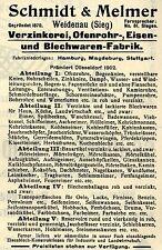 Schmidt & Melmer Weidenau EISEN- BLECHWAREN- FABRIK  Historische Reklame v. 1908