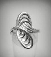 Stylish Sterling Silver Ring Hallmarked Solid 925 Size G - V Nickel Free Empress