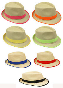 Fedora Hat Trilby - Neon Colors, Straw Fedora Fashion Hat