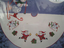 "Christmas Candamar Cross Stitch Tree Skirt Kit,HAPPY HOLLY DAYS,Santa,40"",51338"