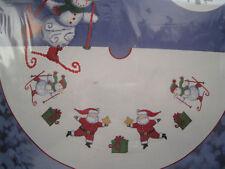 "Christmas Candamar Cross Stitch Tree Skirt Kit,HAPPY HOLLY DAYS,Santa,40"",51338"
