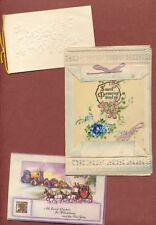 3 Vintage Christmas Cards  1 partly hand-painted, 1 white embossed  etc    JX953