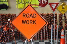 "Road Work Fluorescent Vinyl With Ribs Road Sign 48"" X 48"""