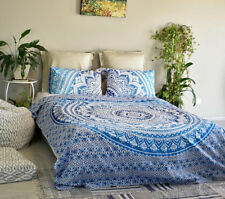 New Indian Blue Mandala Duvet Doona Quilt Cover Set Double Queen Size Bed Cotton