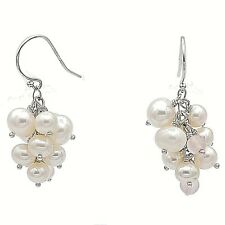 Cultured Freshwater Pearl & Rose Quartz Cluster Earring w/ Sterling Silver