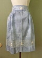 Vtg.Handmade Blue Gingham Check Half Apron~Double Hand Embroidered 2 Pockets NEW