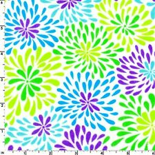 Fabric Ocean Water Splashes Lime Blue on Baby White Flannel 1 Yard