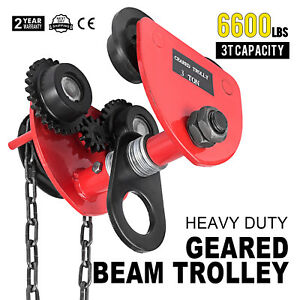 3T Geared Push Beam Trolley W/ Chain Lifing Mine Factories