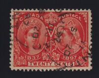Canada Sc #59 (1897) 20c vermilion Diamond Jubilee VF Used in 1897
