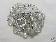 """† """"TO BE BLESSED"""" 50% OFF SALE SILVER & HEAVY CLEAR GLASS SACRED HEART ROSARY †"""