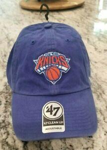 NEW NBA NEW YORK KNICKS '47 BRAND CLEAN UP BLUE STRAPBACK ADJUSTABLE HAT CAP