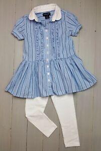 Girls RALPH LAUREN Shirt Dress Top VGC & F&F NEW White Leggings Outfit 3-4 Years
