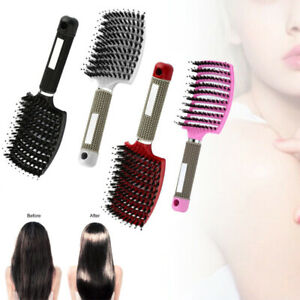 Women Bristle Nylon Hairbrush Scalp Massage Comb Detangle Hair Brush Salon Tool
