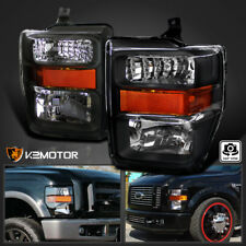 2008-2010 Ford F250 F350 F450 SuperDuty Crystal Black Headlights Pair