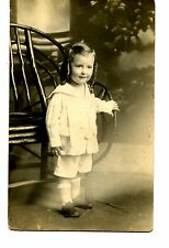 Cute Little Boy-Hair in Long Pipe Curls-Studio RPPC-Vintage Real Photo Postcard