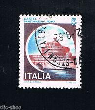 ITALIA UN FRANCOBOLLO CASTELLI D'ITALIA 5 LIRE SANT'ANGELO ROMA 1980 usato