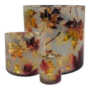 Windlicht Teelicht Ahorn Blätter Kerzenlicht Glas gold bronze kupfer verspiegelt