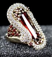 TURKISH HANDMADE RUBY TOPAZ STERLING SILVER 925K RING SIZE 6,7,8,9,10