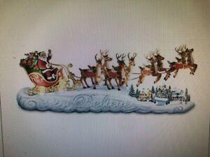 Thomas Kinkade Believe In Holiday Magic Lighted Santa SLeigh Sculpture New