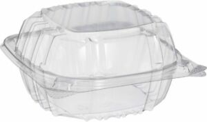 Dart C57PST1 Clear Plastic Hinged Food Container. 6 x 6. Pack of 40