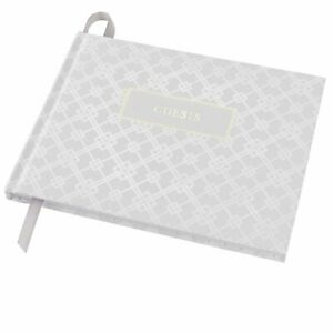 """Wedding Guest Book 9""""x7""""  (White with Gold Foil)"""