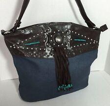 New embellished denim blue with studs Cross body hobo bag Shoulder bag handbag