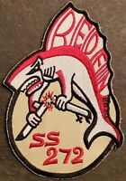 USN NAVY:  SS-272 REDFIN: GATO-CLASS SUBMARINE COLOR EMBROIDERED PATCH MILITARY